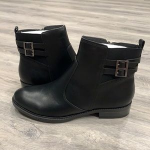 Le Chateau Casual Black Booties with Buckle Design